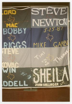 Primary view of object titled '[Quilt Section with Dedications to Steve Newton, Mike Garb, Timi Thomas, and John Shillinger]'.
