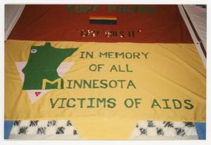 Primary view of object titled '[Quilt Section with Dedications to Kurt Pulver and All Minnesota Victims of AIDS]'.
