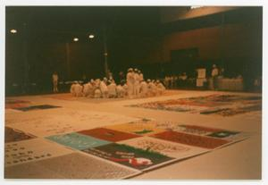 Primary view of object titled '[NAMES Project Members with AIDS Quilt]'.