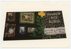 Primary view of object titled '[AIDS Memorial Quilt Panel for Andrew Roy Bowen]'.