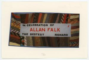Primary view of object titled '[AIDS Memorial Quilt Panel for Allan Falk]'.