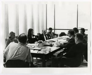 Primary view of object titled '[ A Seated Table Discussion]'.