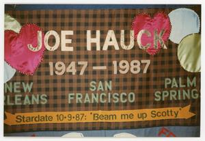 Primary view of object titled '[AIDS Memorial Quilt Panel for Joe Hauck]'.