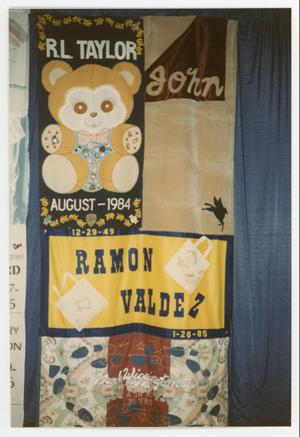 Primary view of object titled '[Quilt Section with Dedications to R. L. Taylor, Ramon Valdez, Mark Wiggington III, and John]'.