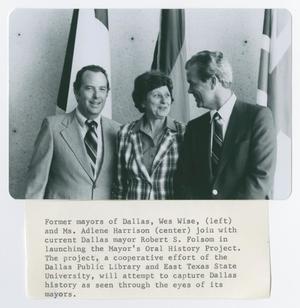 Primary view of object titled '[Former Dallas Mayors Wes Wise, Adlene Harrison, and Robert S. Folsom]'.