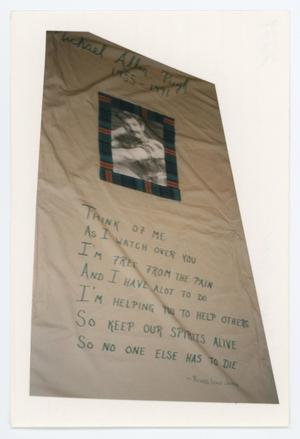 Primary view of object titled '[AIDS Memorial Quilt Panel for Michael Allen Pugh]'.