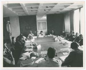 Primary view of object titled '[A Shot of the Participants in the Brandeis Discussions]'.