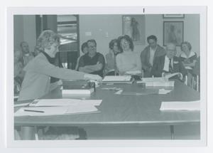 Primary view of object titled '[Part of Overflow Crowd with Ann Campbell at Speakers Table]'.