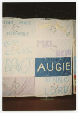 Primary view of object titled '[Quilt Section with Dedications to Freddie Mack, Tom Clark, Davo, Phil Osborne, Mike Reed, Augie, and Dennis Lord]'.