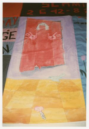 Primary view of object titled '[Quilt Panel with Painting of a Bird, Hands, and Hair]'.