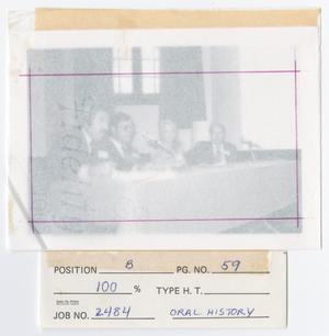 Primary view of object titled '[Four Speakers, Ron Marcello, Waddy Moore, Amelia Fry, and John Main]'.