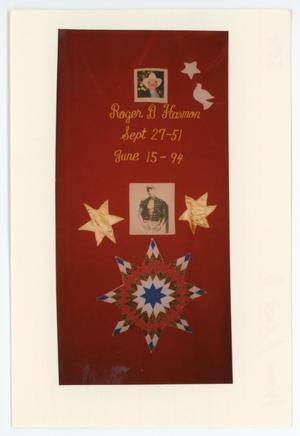 Primary view of object titled '[AIDS Memorial Quilt Panel for Roger D. Harmon]'.