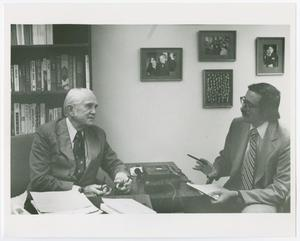 Primary view of object titled '[Donald A. Ritchie interviewing Floyd M. Riddick]'.