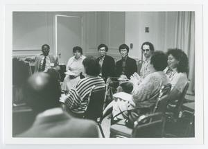 Primary view of object titled '[Woman Speaking to Room of People]'.