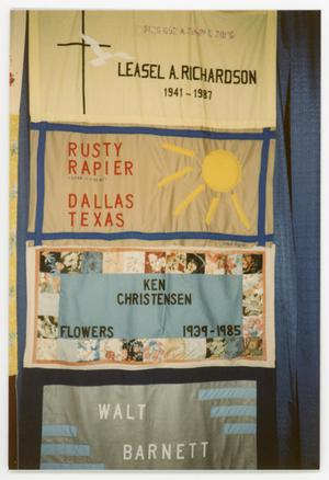 Primary view of object titled '[Quilt Section with Dedications to Leasel A. Richardson, Rusty Rapier, Ken Christensen, and Walt Barnett]'.