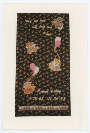 Primary view of object titled '[AIDS Memorial Quilt Panel for Roland Valdez]'.
