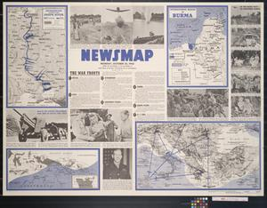 Primary view of object titled 'Newsmap. Monday, October 25, 1943 : week of October 14 to October 21, 215th week of the war, 97th week of U.S. participation'.