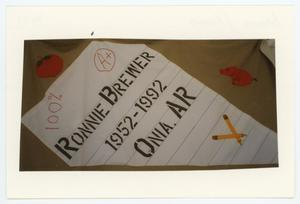 Primary view of object titled '[AIDS Memorial Quilt Panel for Ronnie Brewer]'.