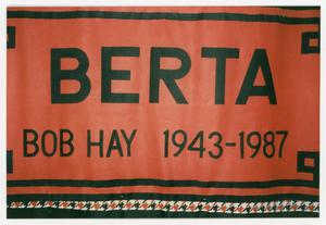 "Primary view of object titled '[AIDS Memorial Quilt Panel for Bob ""Berta"" Hay]'."