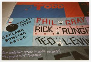 Primary view of object titled '[Quilt Section with Dedications to Todd, Phil Gray, Rick Runge, Ted Levin, and the Oaklawn Bowling Association]'.