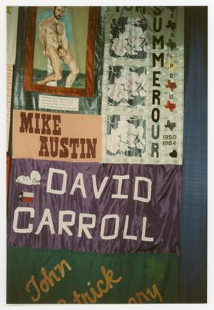 Primary view of object titled '[AIDS Memorial Quilt Display Hanging at the Names Project Tour]'.