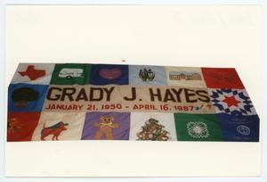 Primary view of object titled '[AIDS Memorial Quilt Panel for Grady J. Hayes]'.