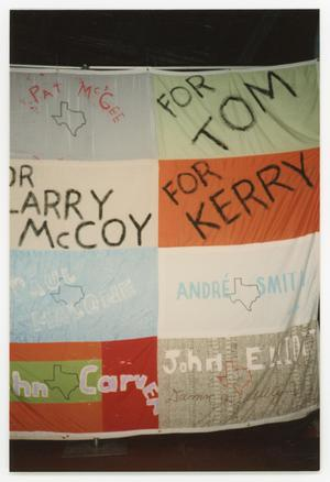 Primary view of object titled '[Quilt Section with Dedications to Pat McGee, Larry McCoy, Paul Malone, John Carver, Tom, Kerry, Andre Smith, and John Elliott]'.