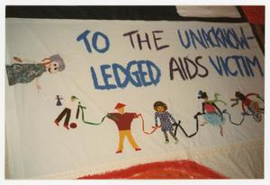 "Primary view of object titled '[AIDS Memorial Quilt Panel, ""To The Unacknowledged AIDS Victims""]'."