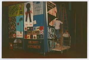 Primary view of object titled '[Three People Work to Set Up the AIDS Memorial Quilt for Viewing]'.
