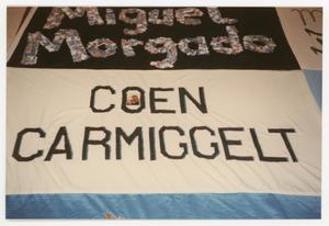 Primary view of object titled '[Quilt Section with Panels Dedicated to Miguel Margado and Coen Carmiggelt]'.