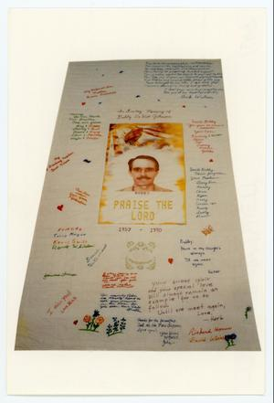 Primary view of object titled '[AIDS Memorial Quilt Panel for Bobby DeWitt Johnson]'.