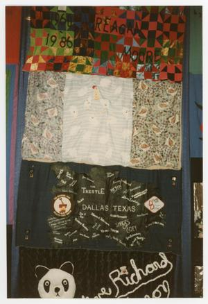 Primary view of object titled '[Quilt Section with Dedications to Reagan Moore and The Trestle]'.