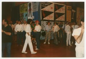 Primary view of object titled '[Crowd Standing in Front of AIDS Memorial Quilt Section]'.