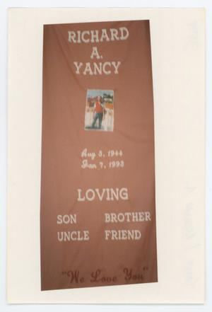 Primary view of object titled '[AIDS Memorial Quilt Panel for Richard A. Yancy]'.