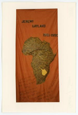 Primary view of object titled '[AIDS Memorial Quilt Panel for Jeremy Gaylard]'.