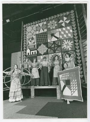 "Primary view of object titled '[""Tree of Life"" Scene with Cast of Quilters]'."