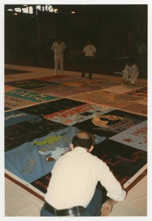 Primary view of object titled '[AIDS Quilt on Display]'.
