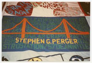 Primary view of object titled '[Quilt Section with Dedications to Ernie Paganano and Stephen G. Perger]'.