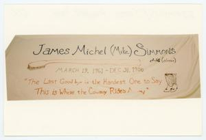 "Primary view of object titled '[AIDS Memorial Quilt Panel for James Michel ""Mike"" Simmons]'."