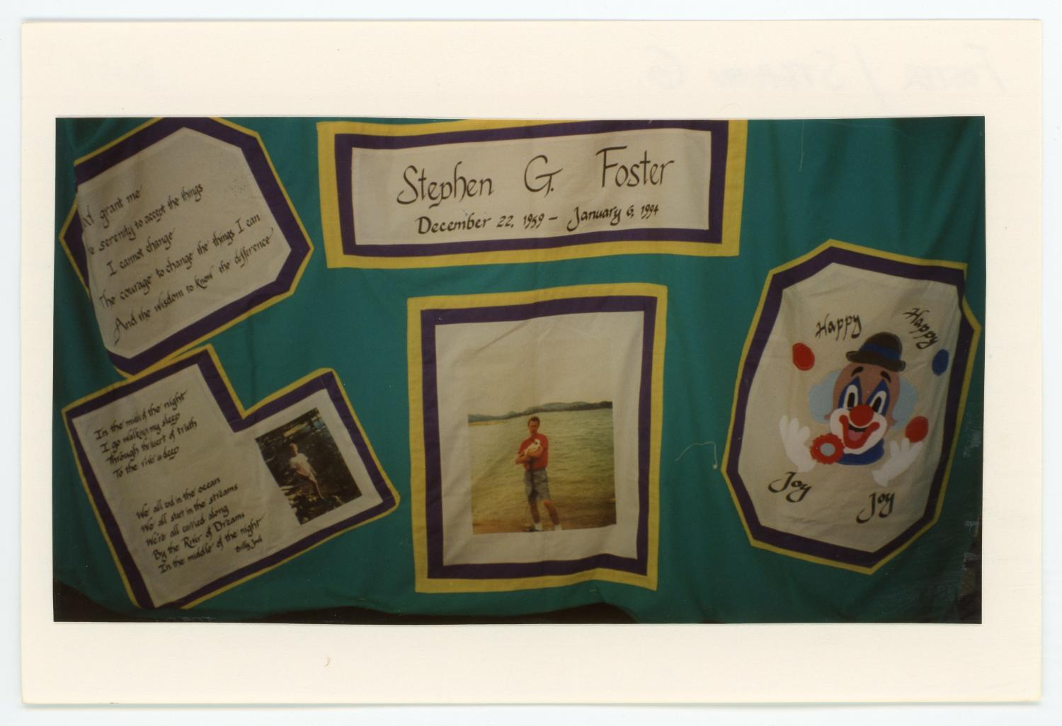 [AIDS Memorial Quilt Panel for Stephen G. Foster]                                                                                                      [Sequence #]: 1 of 2