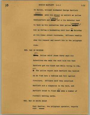 Primary view of object titled '[News Script: Bookie Bartlett]'.