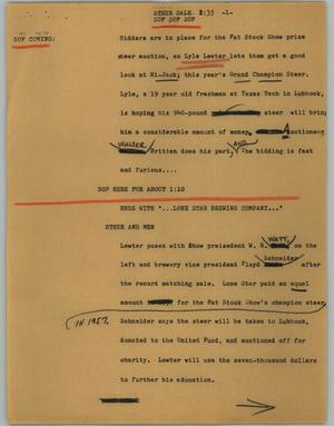 Primary view of object titled '[News Script: Steer sale]'.