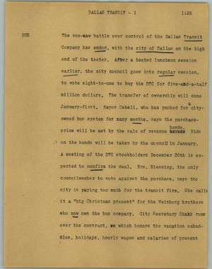 Primary view of object titled '[News Script: Dallas transit]'.