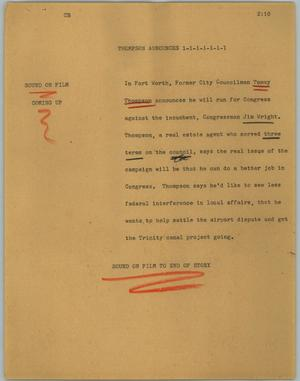 Primary view of object titled '[News Script: Thompson announces]'.