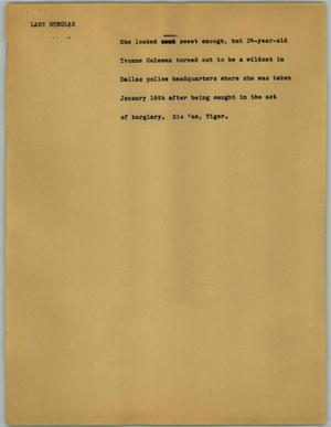 Primary view of object titled '[News Script: Lady burglar]'.