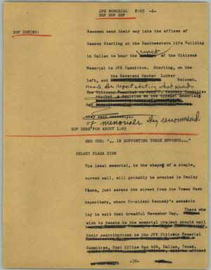Primary view of object titled '[News Script: JFK memorial]'.