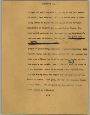 Primary view of object titled '[News Script: Arlington gal]'.
