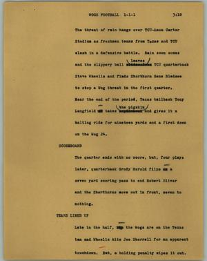 Primary view of object titled '[News Script: Wogs football]'.