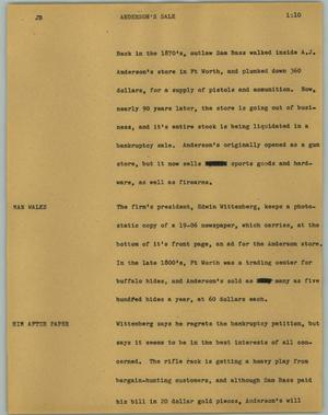 Primary view of object titled '[News Script: Anderson's sale]'.