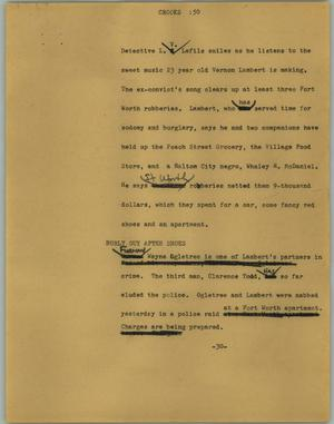 Primary view of object titled '[News Script: Crooks]'.
